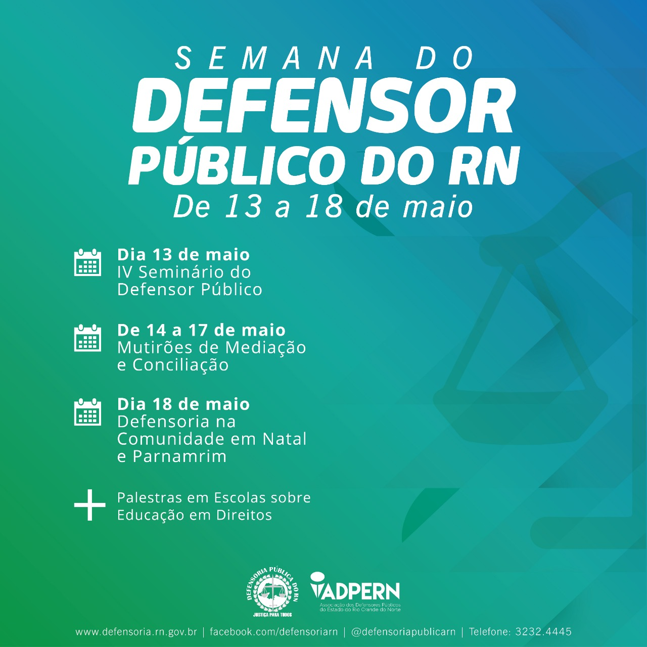 Defensoria Pública do RN divulga programação da Semana do Defensor Público 2019